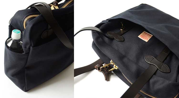 Filson Zippered Tote Review - Navy, external pockets