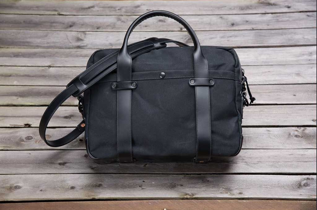 All black canvas briefcase with leather