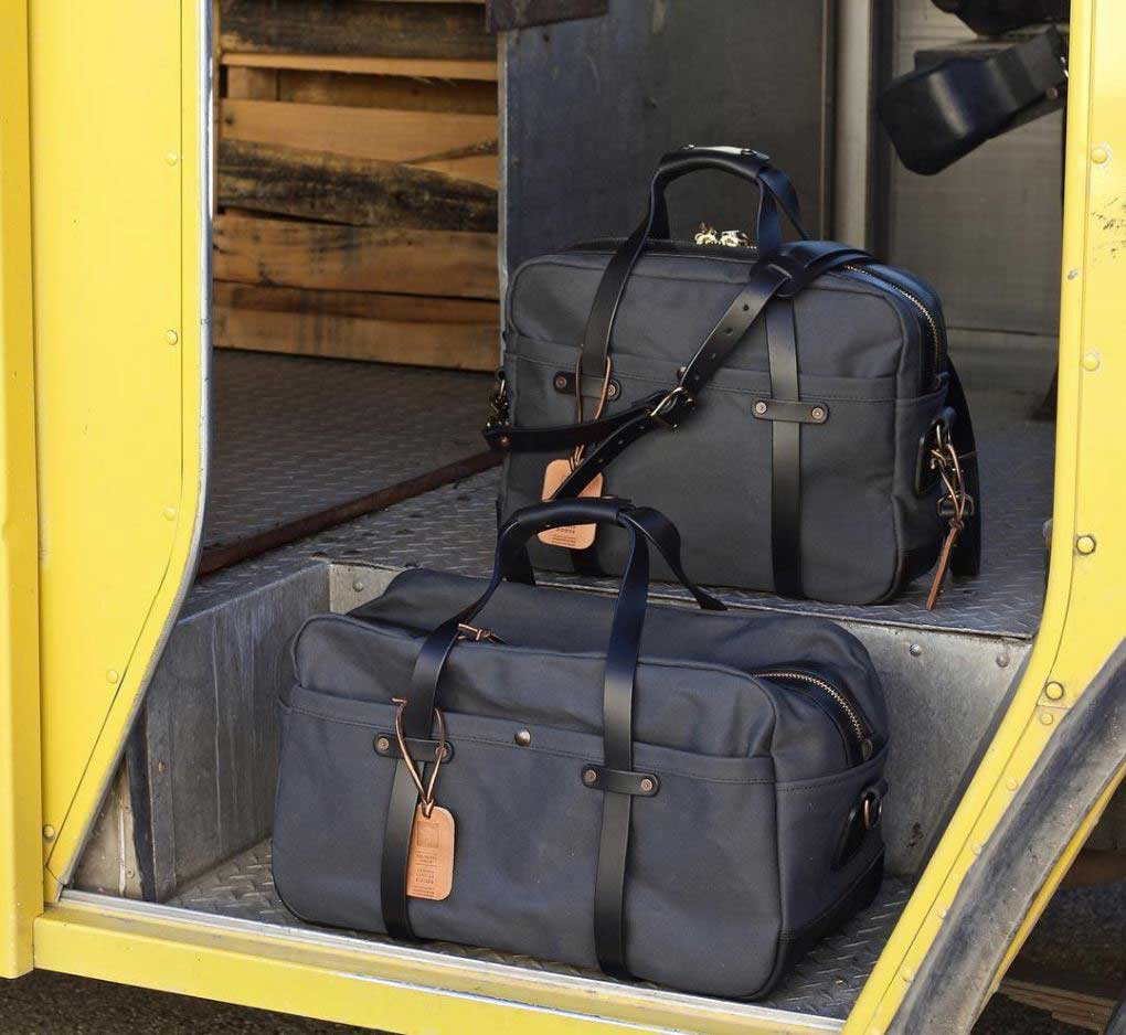 Vermilyea Pelle briefcase grey twill and black leather