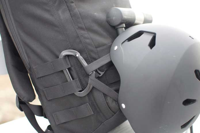 Goruck GR1 attaching bike U lock and helmet to molle webbing