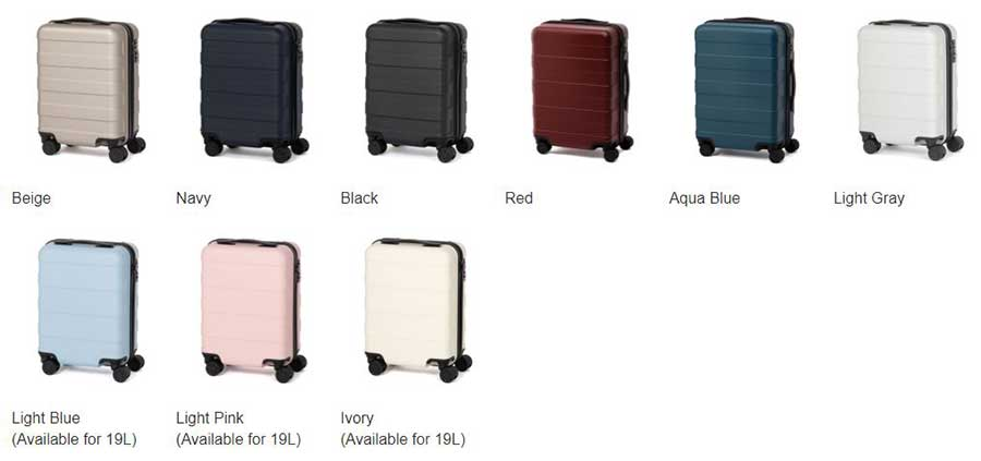 Muji Suitcase Available Colors 2018 2019